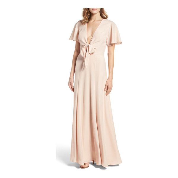LOVERS + FRIENDS chandelle gown - Demure and feminine, this flowing gown features a plunging...