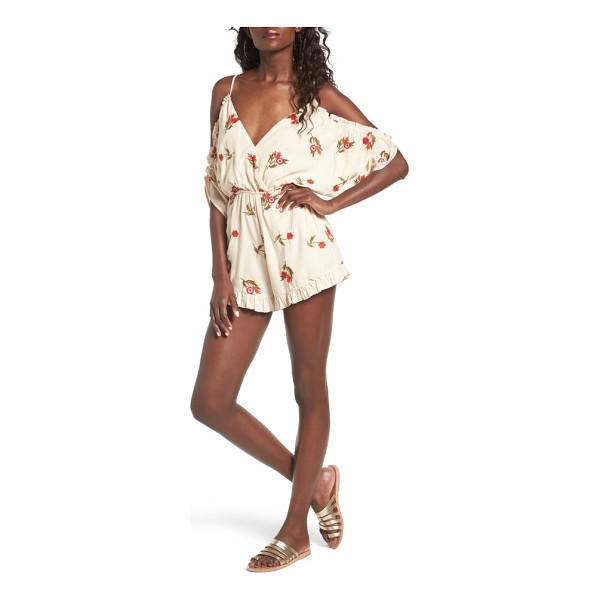 LOVERS + FRIENDS malia off the shoulder romper - Embroidered with vibrant flowers, this back-baring style is...