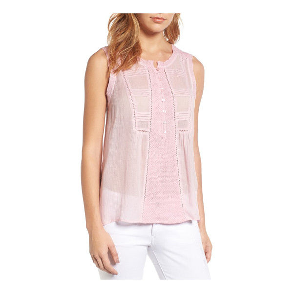 LUCKY BRAND audrey tank - A mix of delicately pretty textures and details, including...