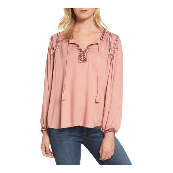 LUCKY BRAND embroidered boho blouse - Vivid embroidery and tassel ties at the neckline make a...