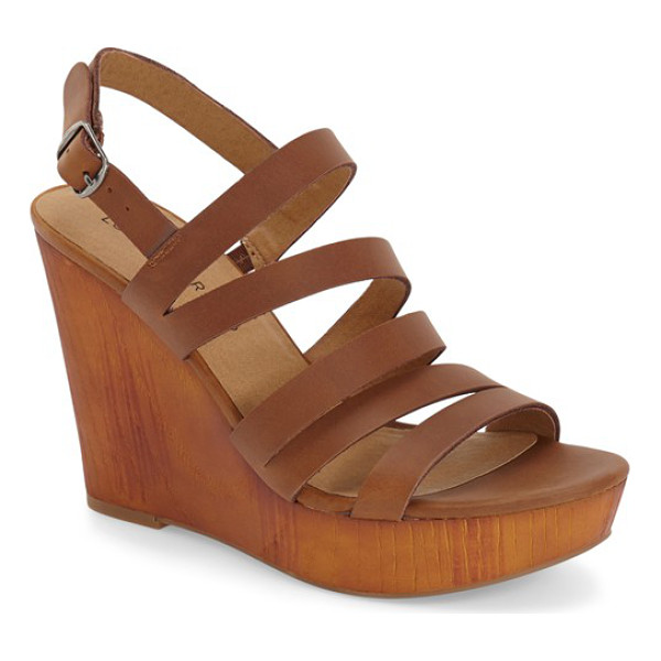 LUCKY BRAND larinaa wedge sandal - Slim, asymmetrical leather straps enhance a '70s-inspired...