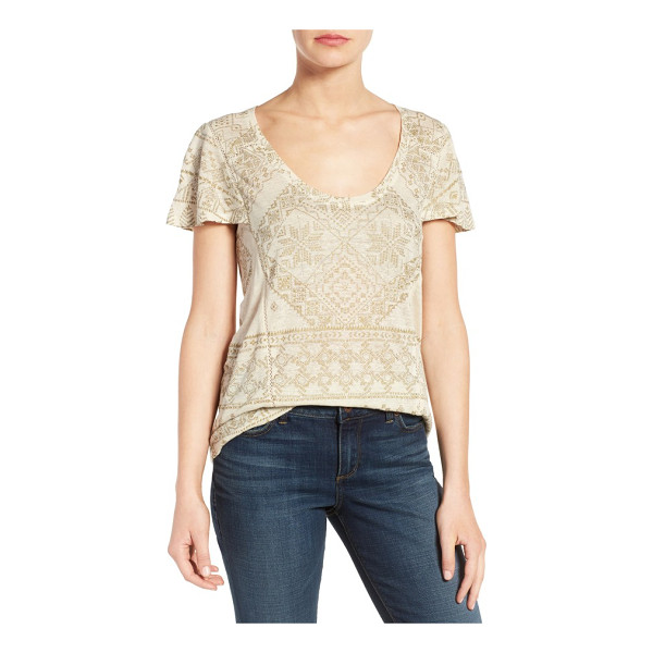 LUCKY BRAND metallic geo embroidered knit top - Gilded metallic threads trace an intricate geometric motif...