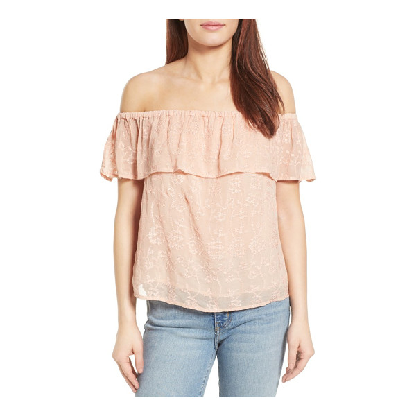 LUCKY BRAND off the shoulder top - Tonal embroidery throughout adds a pretty touch to an airy...