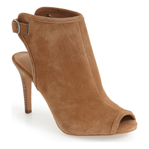 LUCKY BRAND sezzah peep toe sandal - Lush suede defines the clean curves of a sophisticated...