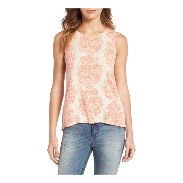 LUCKY BRAND woodblock print tank - An exotic print brings a bright boho mood to a high-neck...