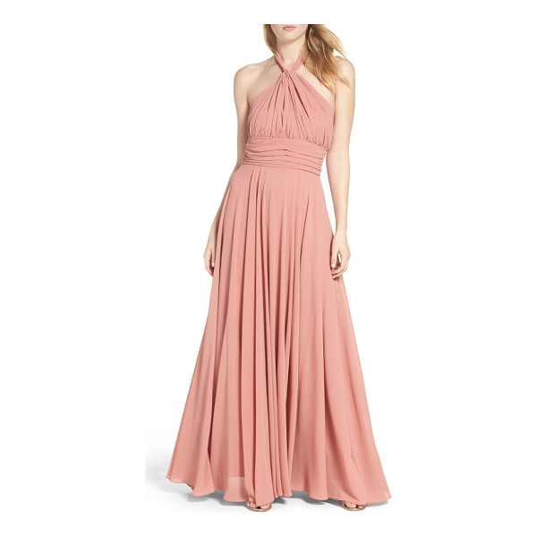 LULUS chiffon halter gown - Curve-following gathers flatter myriad body types in this...