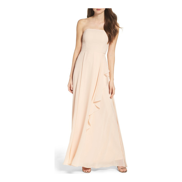 LULUS chiffon strapless maxi dress - Cascading ruffles begin at the waist and add a playful...