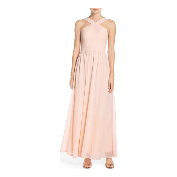 LULUS cross neck a-line chiffon gown - When you look back in photos years from now, this...