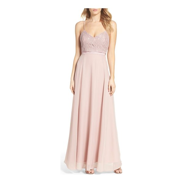 LULUS embellished lace gown - Crisscrossing straps in back accentuate the demure feel of...