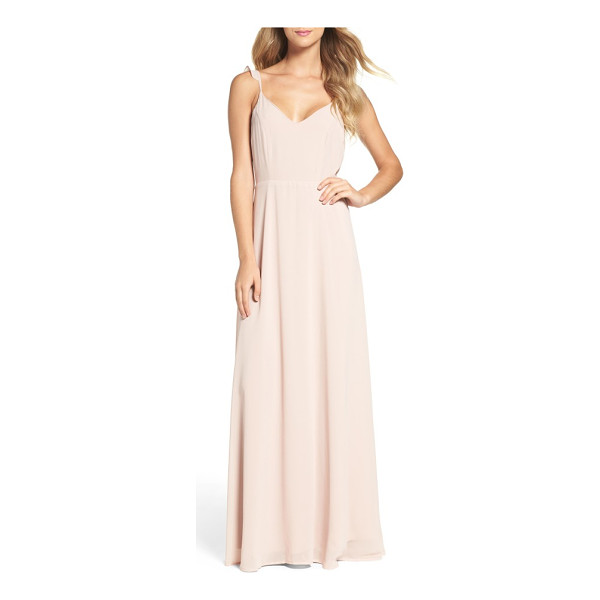 LULUS flutter strap a-line chiffon gown - Softly romantic in front and showstopping from behind, this...