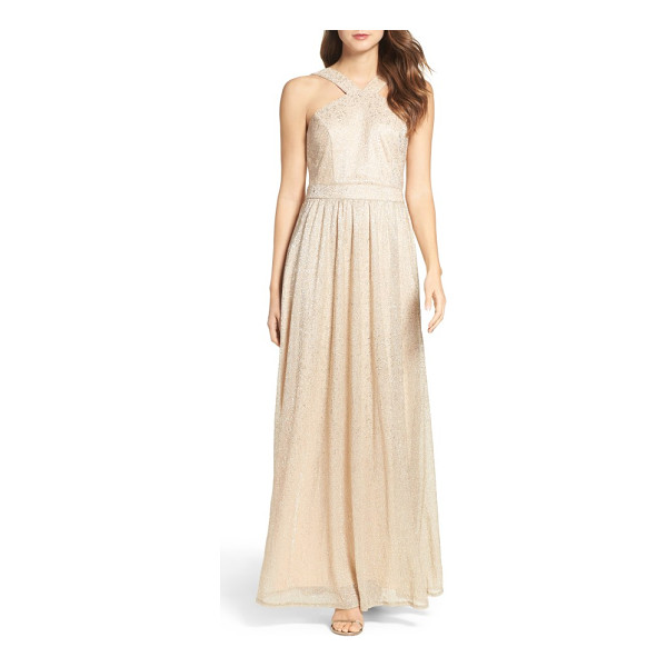 LULUS high neck shimmer gown - Shimmering metallic threads add eye-catching glamour to a...