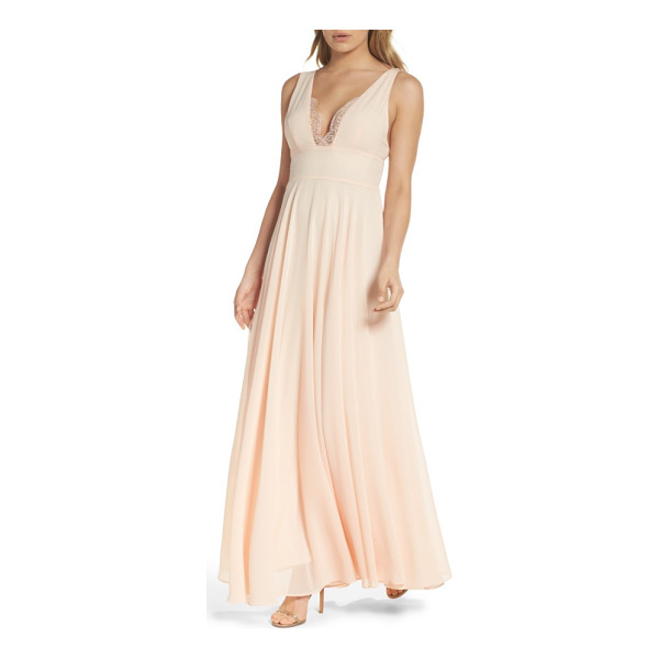 LULUS lace trim chiffon maxi dress - A touch of lace at the decollete neckline turns up the...