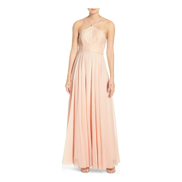 LULUS high neck lace & chiffon gown - A romantic gown shows off shoulders with a cutaway bodice...