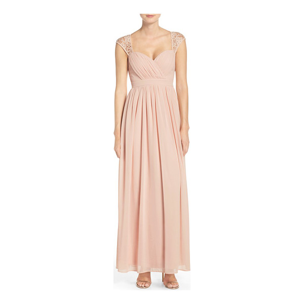 LULUS lace shoulder sleeveless chiffon gown - Lace capping the shoulders brings an extra element of...