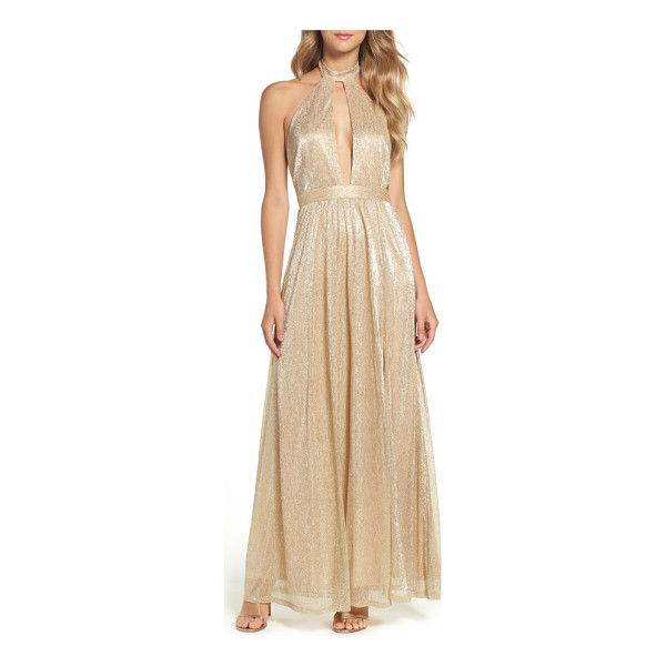 LULUS metallic halter gown - A plunging front keyhole is alluring yet sophisticated in a...