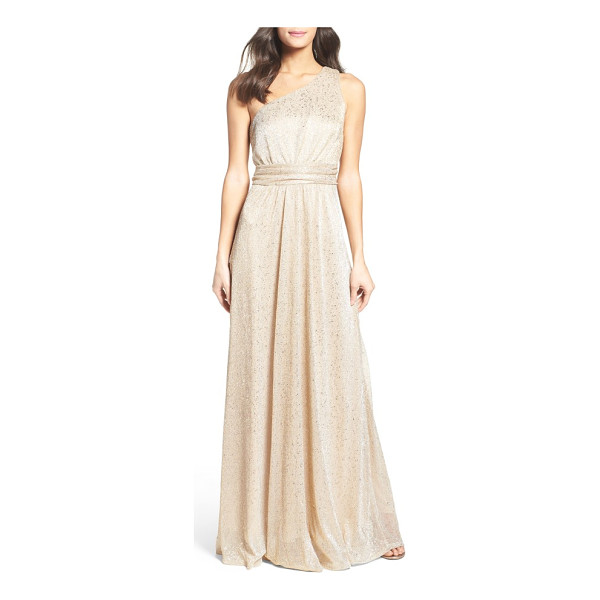LULUS metallic one-shoulder gown - Wrapped at the waist, this eye-catching metallic gown has a...