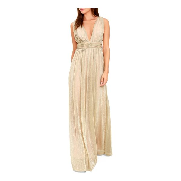 LULUS plunging neck metallic gown - When you need your dress to be as luminous as your...