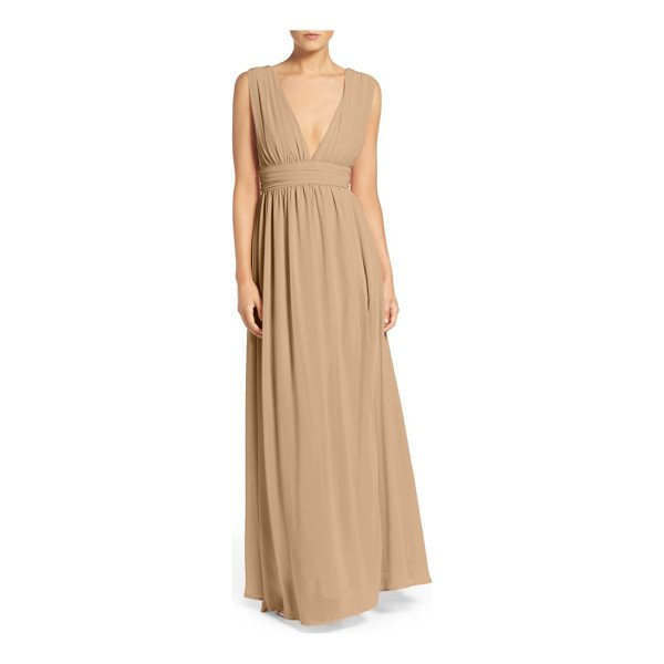 LULUS plunging v-neck chiffon gown - Plunging necklines and deep arm openings style the...