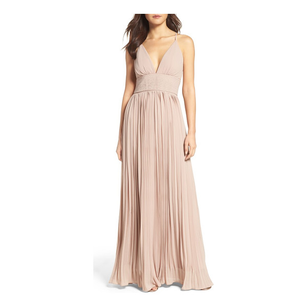 LULUS plunging v-neck pleat georgette gown - A plunging V-neck and slender crisscrossing straps...