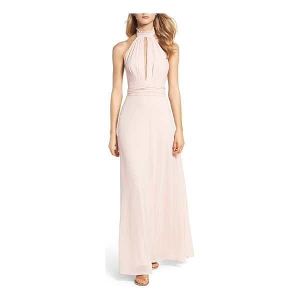 LULUS ruffle neck halter gown - A plunging front keyhole is alluring yet sophisticated in a...