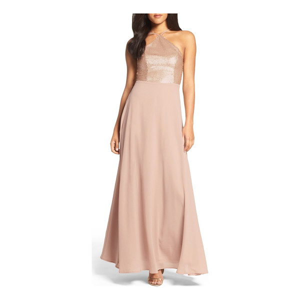 LULUS sequin chiffon gown - A sequin-lacquered bodice accentuates curves before giving...
