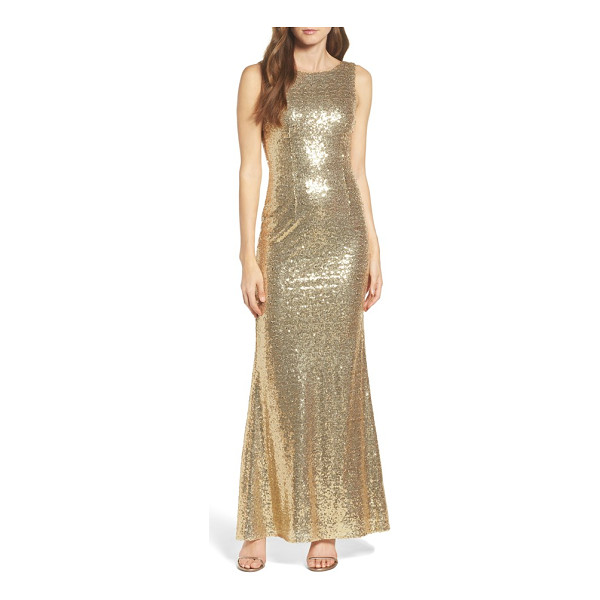 LULUS sleeveless sequin drape back gown - Lacquered in scintillating sequins, this sleeveless gown...