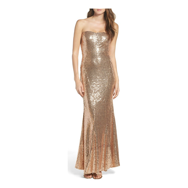 LULUS strapless sequin mermaid gown - Allover sequins brings liquid shine to a glamorous gown in...