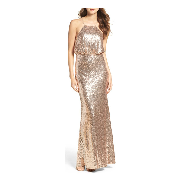 LULUS strappy sequin blouson gown - Awash in shimmering metallic sequins, a shapely blouson...