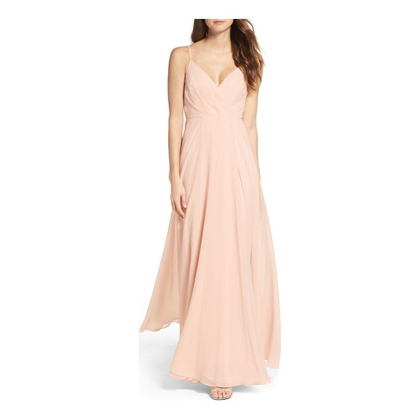 LULUS surplice chiffon gown - Subtle pleats add flattering dimension to the attractive...