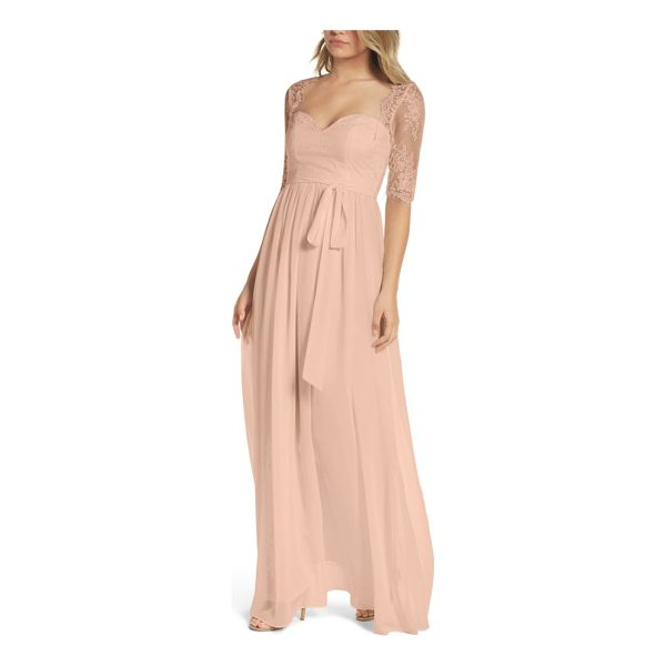 LULUS sweetheart chiffon gown - Delicate Chantilly lace creates a soft Queen Anne neckline...