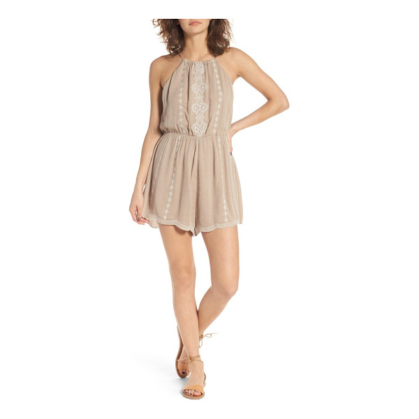 LUSH embroiderd high neck romper - Intricate embroidery brings bohemian charm to a...