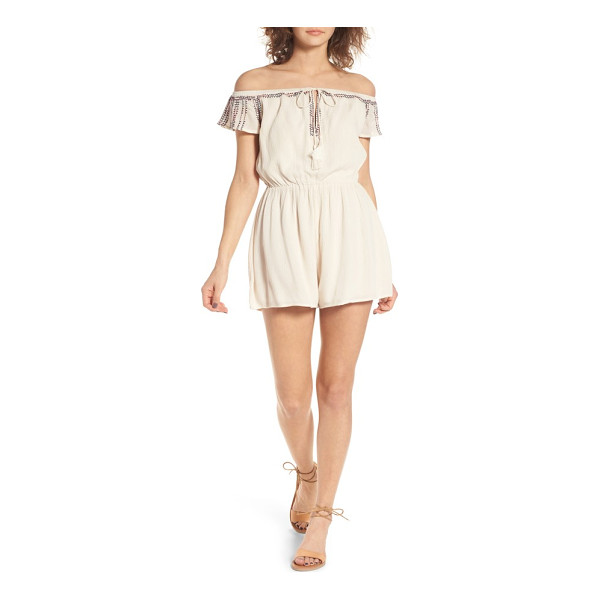 LUSH embroidered off the shoulder romper - Delicate embroidery and tassel-tipped ties bring boho...