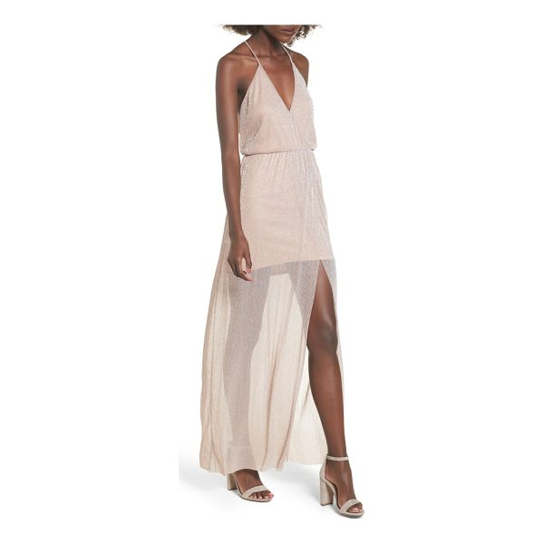 LUSH metallic surplice maxi dress - A gossamer skirt overlay adds dreamy detail to this...