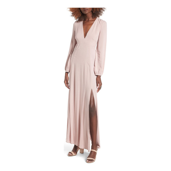 LUSH open back woven maxi dress - With its plunging neckline, thigh-high skirt slit and open...