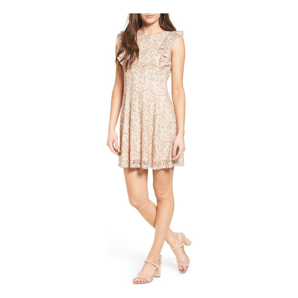 LUSH ruffle lace dress - Blush-hued lace and a softly ruffled bodice add a sense of...