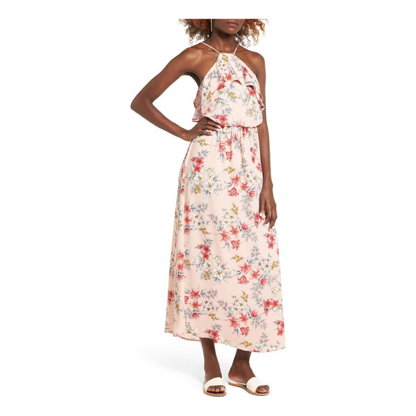 LUSH ruffle maxi dress - A high neck trimmed in soft ruffles makes a beautifully...
