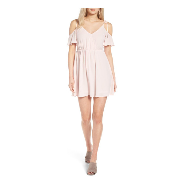 LUSH surplice cold shoulder dress - Sweet little bow-tied straps suspend the draped...