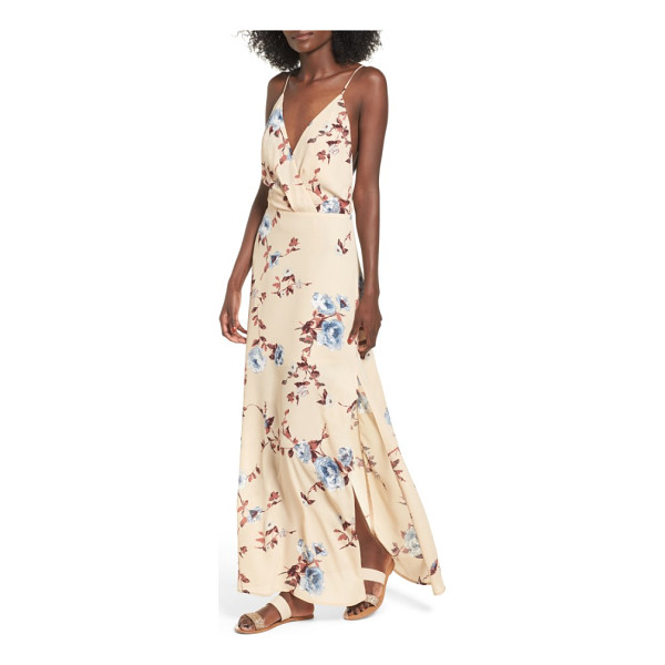 LUSH surplice maxi dress - Thigh-high slits add movement to the sweeping skirt of a...