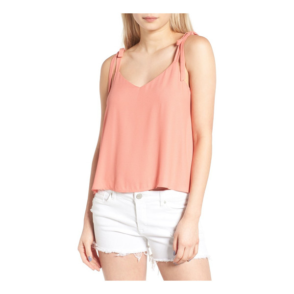 LUSH tie shoulder camisole - Decorative tie straps sweeten the look of a flowy tank that...