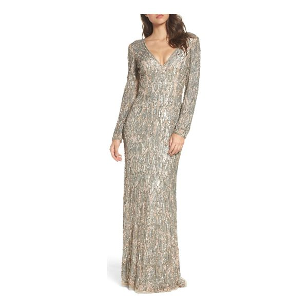 MAC DUGGAL beaded long sleeve gown - Metallic beads and sequins placed in a dreamy leaf pattern...