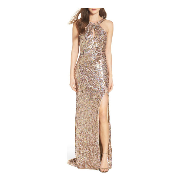 MAC DUGGAL sequin cowl back gown - Iridescent sequins create a play of shimmering color down...