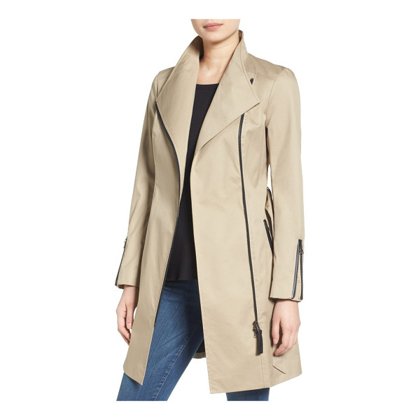 MACKAGE belted long trench coat - Leather trim and zip detailing bring moto-inspired edge to...
