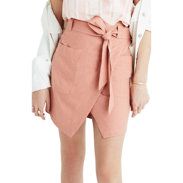 MADEWELL portside faux wrap silk skirt - An easy faux-wrap silhouette creates a put-together look in...