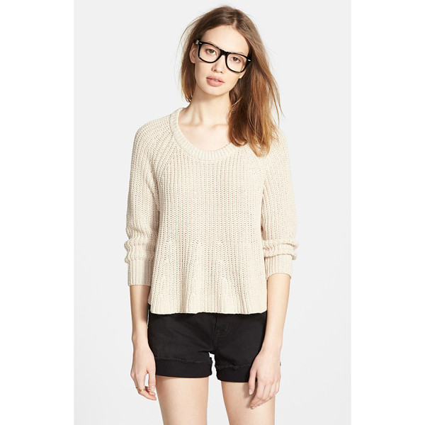 MADEWELL swing crop sweater - Thick ribbing at the collar contrasts with the raw cropped...