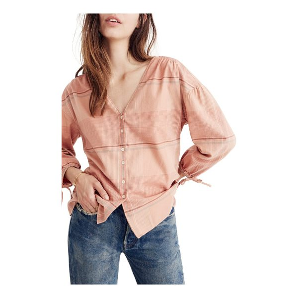 MADEWELL v-neck tie sleeve top - Tie cuffs accentuate the bloused sleeves of a soft cotton...