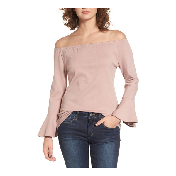 MADISON & BERKELEY off the shoulder ruffle blouse - An off-the-shoulder neckline and dramatic bell sleeves play...