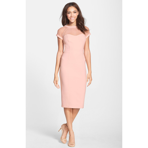 MAGGY LONDON illusion yoke crepe sheath dress - Sheer mesh is softly gathered to a V-back neckline for a...