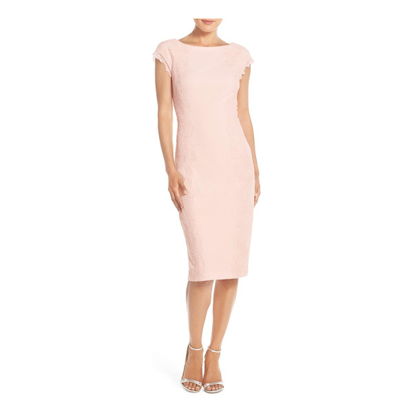 MAGGY LONDON lace detail crepe sheath dress - Delicate floral lace detailing creates alluring visual and...