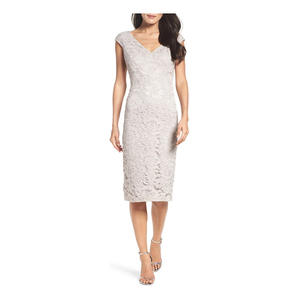 MAGGY LONDON lace sheath dress - Here-and-there shimmer adds to the romance of a floral-lace...