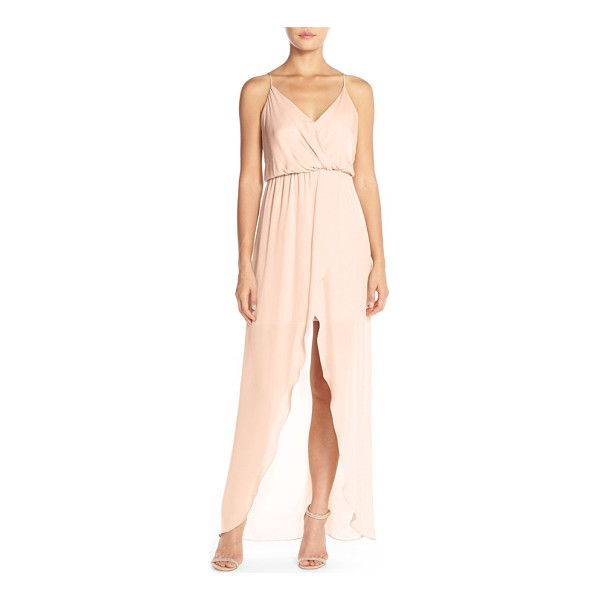 MAIDS RORY BECA 'jones' silk georgette faux wrap gown - A full-length faux-wrap effect creates fit-for-a-goddess...